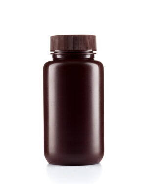 HDPE wide mouth amber bottle